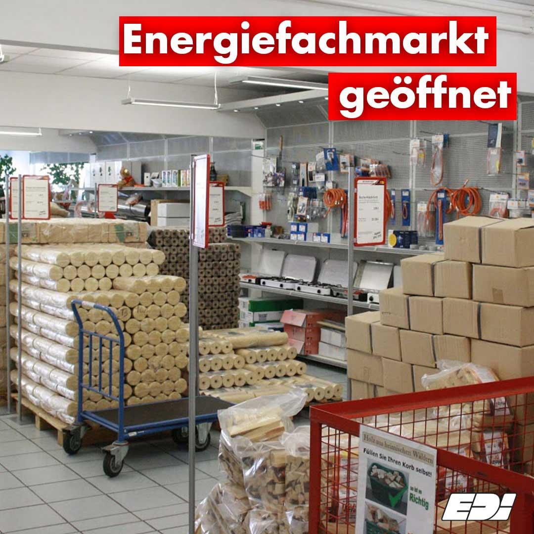 Energiefachmarkt geöffnet
